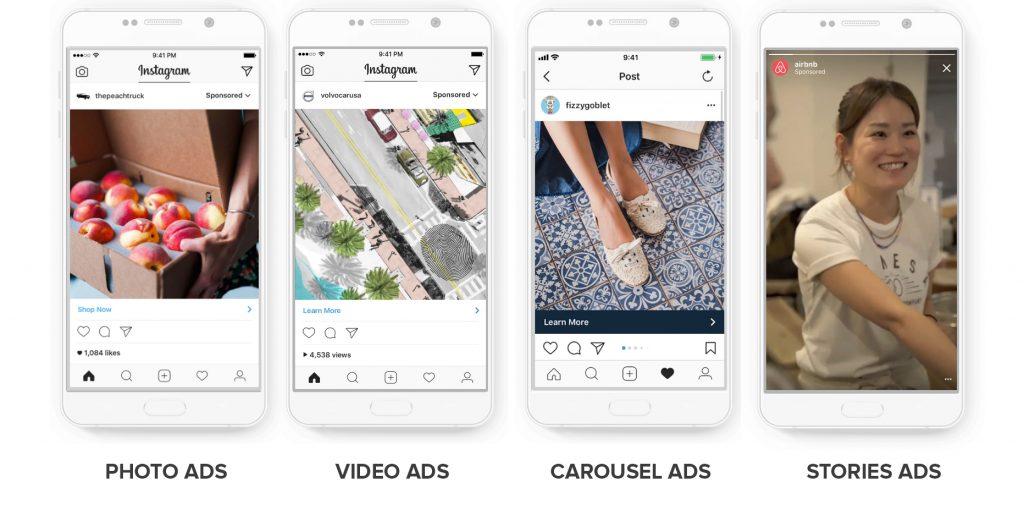 types publicités instagram